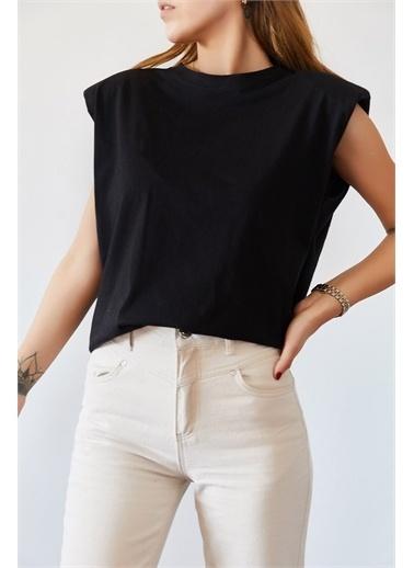 XHAN Vatkalı Basic Tişört 0Yxk2-43401-02 Siyah